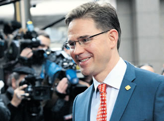 Finnish Prime Minister Jyrki Katainen arrives at the EU Headquarters on 23 November in Brussels, to take part in a two-day European Union leaders summit called to agree a hotly-contested trillion-euro budget through 2020. An agreement was finally reached this Monday, 26 November.