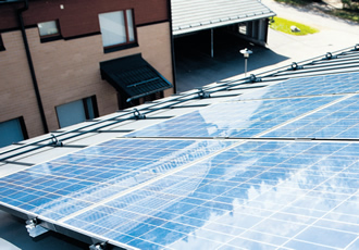 Solar panels, like this one on a house in Järvenpää, can provide a quarter of the home's electricity needs.