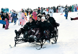 The annual sledging down the Tähtitorninmäki Hill in Helsinki on Shrove Tuesday is one of the many student activities offered by student unions and organisations, which international students in Finland can enjoy.