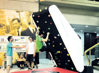 Professional indoor climbing wall designed by ClimbStation.