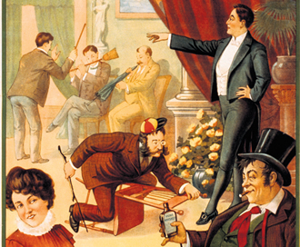 Illustrations by Donaldson, from the Library of Congress portraying an exagerated picture of people acting under hypnosis.
