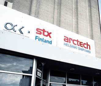 The Helsinki shipyard still bearing the logo of Arctech. STX just sold the rest of its shares of the shipyard to the Russian United Shipbuilding Corporation (USC).