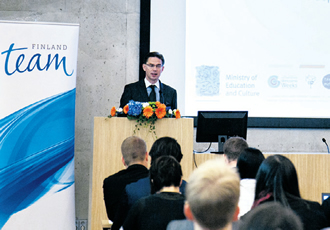 Finnish Prime Minister Jyrki Katainen during his welcoming speech at the 'Talents Available' event.