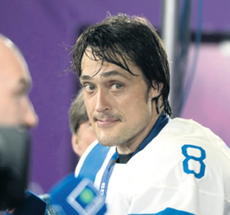 Teemu Selänne at a press conference after Finland won the Bronze-medal after at the Sochi Winter Olympics in February. The