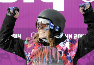 Enni Rukajärvi celebrates after a successful second run in women's slopestyle finals in the Sochi Olympics.
