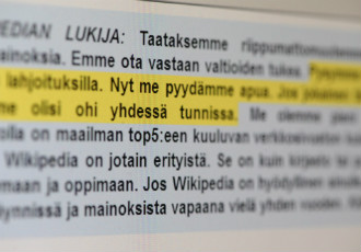Wikipedia urged its Finnish users to donate in order to guarantee the independence of the online encyclopedia.