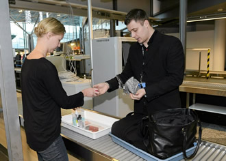 A security check at Helsinki airport.