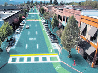 A future city centre? An artist's view of solar panels embedded in the roads in Sandpoint, Idaho, the home town of Solar Roadways.