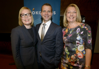 Laura Räty (left) will become the new Minister of Social Affairs and Health, Petteri Orpo the Minister of Agriculture and Forestry, and Lenita Toivakka the Minister for European Affairs and Foreign Trade.