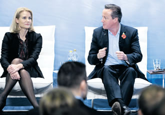 Britain's Prime Minister David Cameron visited Finland for the Northern Future Forum seminar to discuss relations with Russia, among other issues.