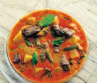 Beef and pineapple red curry – light, yet its flavours bring warmth.