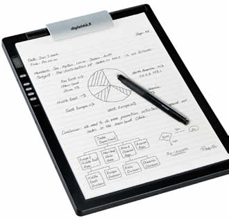 The digital writing pad gives an opportunity to write and draw on a paper with automatic transfer to a digital file.