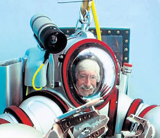 Explorer Jacques Coustaeu's son Jean-Michel recently tested the revolutionary diving suit.