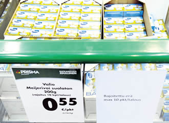 Retail prices for milk and dairy products have fallen by well over 40 per cent, due to the influx of unwanted dairy goods that have been banned by Russia.