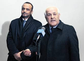 Riyad H. Mansour speaks to journalists at the UN in New York on 30 December, prior to the resolution's defeat.
