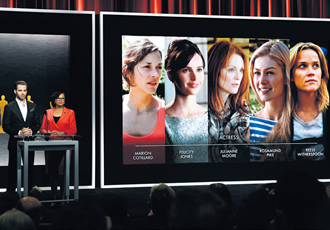 The Oscar nominees for Best Actress are announced by Chris Pine and Academy President Cheryl Boone during the Academy Awards Nominations Announcement at the Samuel Goldwyn Theater in Beverly Hills, California on 15 January.