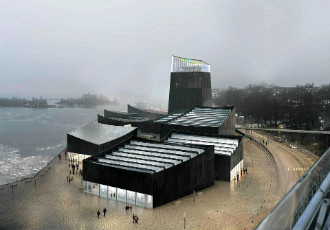 A rendering of the winning design for Guggenheim Helsinki by Moreau Kusunoki Architectes.