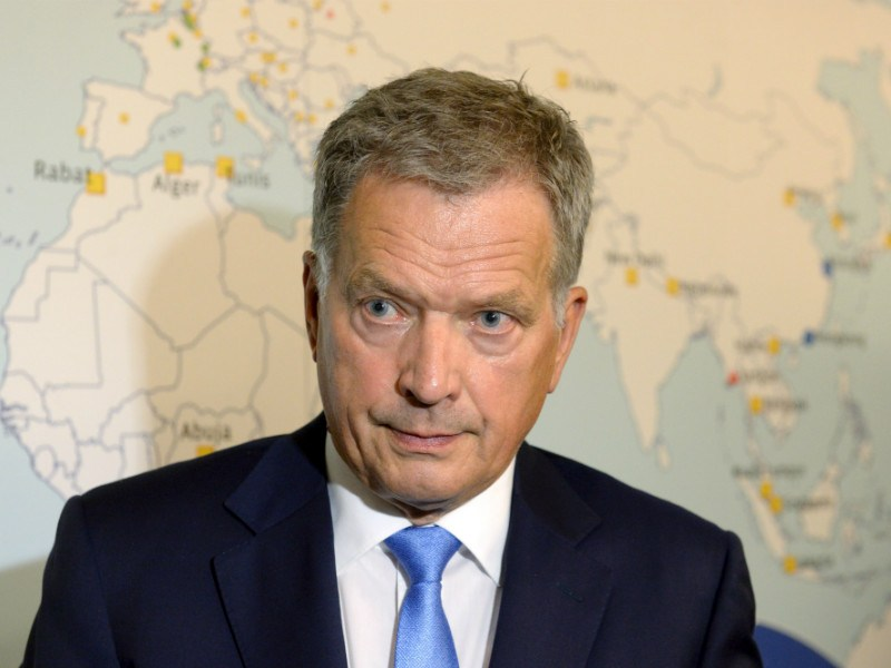 President Sauli Niinistö spoke to members of the media after his speech at the Annual Meeting of Heads of Missions in Helsinki on 23 August, 2016.
