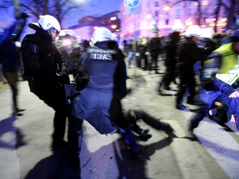 Police officers intervened after a scuffle broke out during a protest held by the Nordic Resistance Movement, an organisation with the declared objective of establishing a national-socialist regime in the Nordics, in Helsinki on 6 December, 2016.