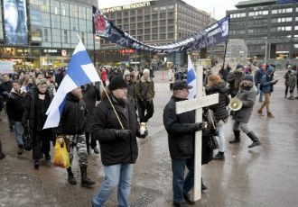 People took part in an anti-immigrant protest in Helsinki on 30 January, 2016. Both the tolerant and the intolerant have faced severe, to some extent needless, criticism in Finland, suggests President Sauli Niinistö.
