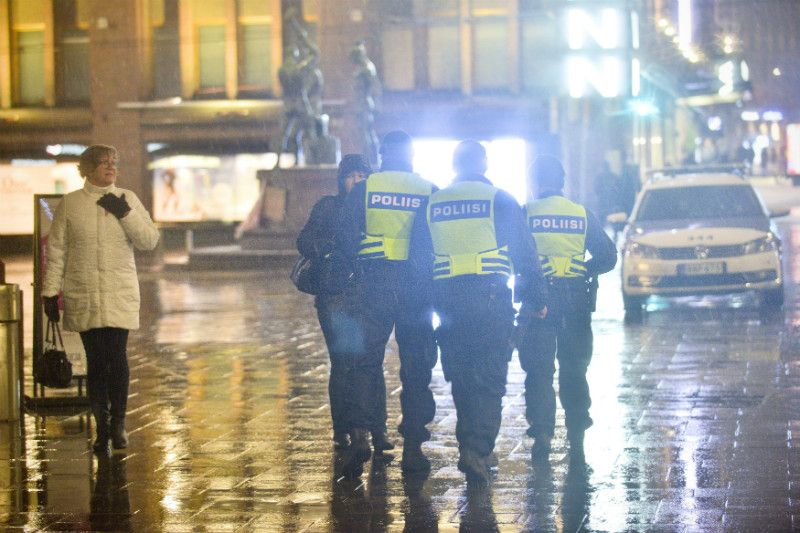 Police officers patrolled in Helsinki on 6 February, 2016, after collecting intelligence that people were to gather and cause a disturbance in the city centre. Helsinki Police Department announced later that no signs of anything out of the ordinary were detected.