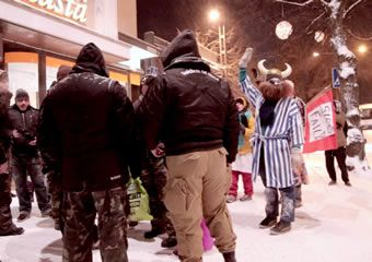 A group of Finns opposing the street patrols by Soldiers of Odin followed the group dressed as clowns in the city of Tampere on 16 January. The clown patrol, which is spreading to other cities as well, call themselves 'Loldiers of Odin'