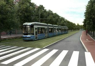 A conceptual drawing of the orbital light rail line that is to connect Itäkeskus in Helsinki to Keilaniemi in Espoo.