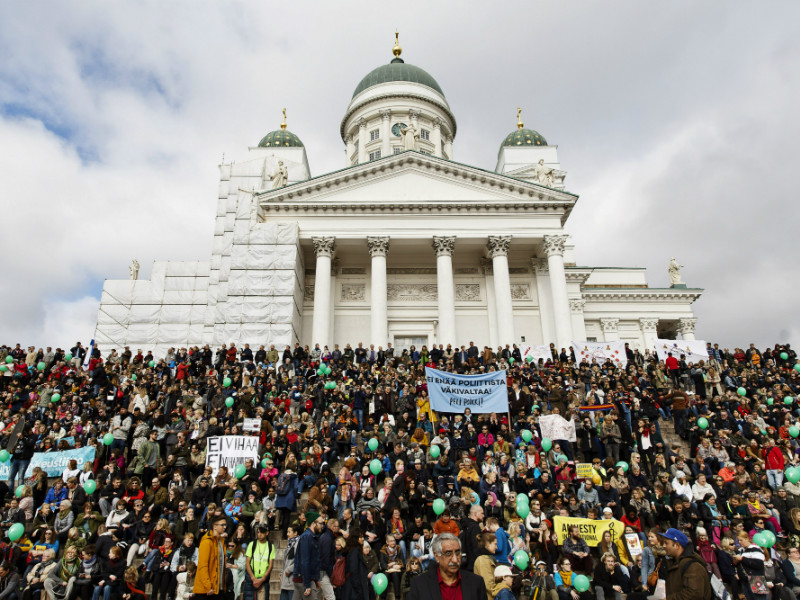 An estimated 15,000 people took part in a demonstration against racism and political violence in Helsinki on 24 September, 2016.