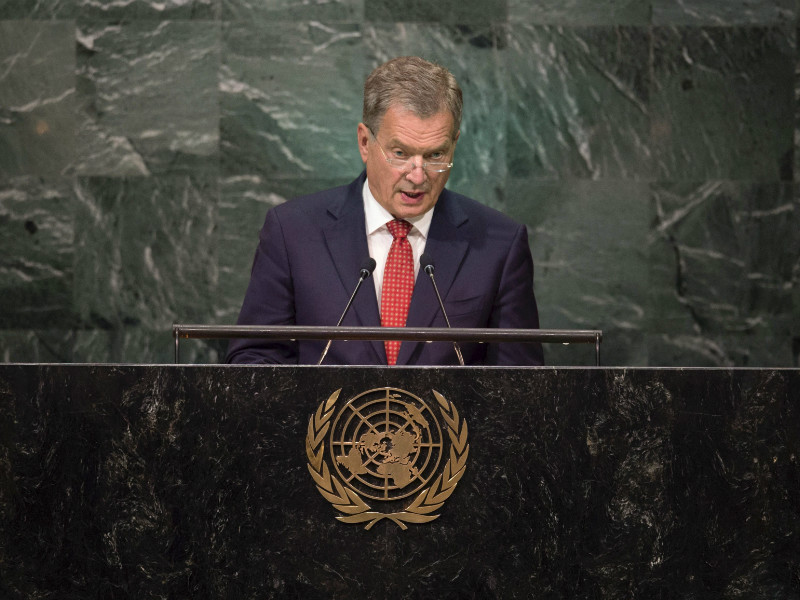 President Sauli Niinistö delivered one of the keynote speeches at the second anniversary reception of HeForShe, a gender equality campaign launched by UN Women, in New York City on Tuesday.