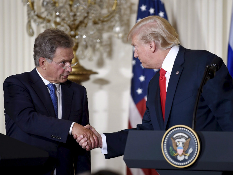 Presidents Sauli Niinistö and Donald Trump shook hands during a joint press conference at the White House in Washington DC, the United States, on 28 August, 2017.