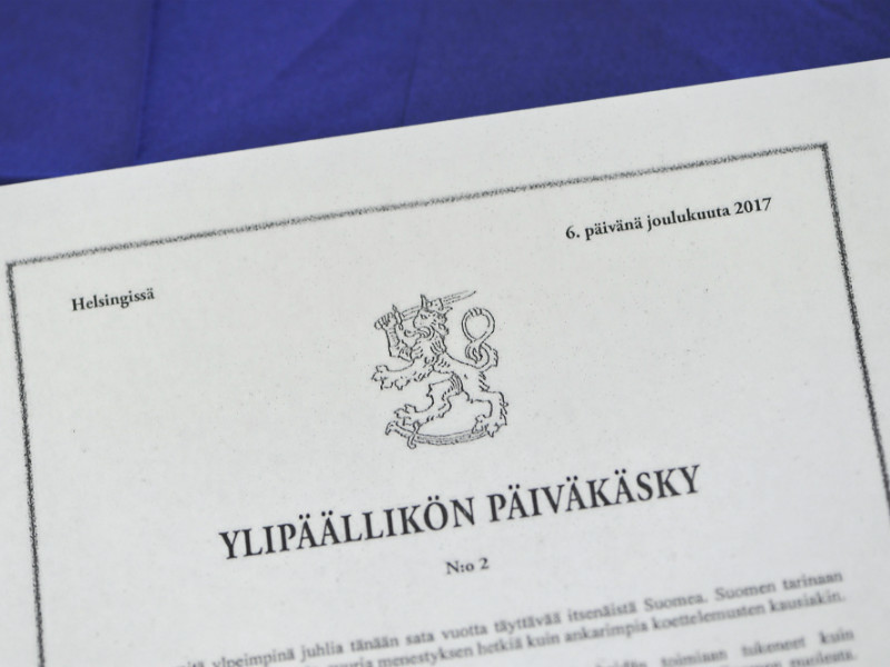 President Sauli Niinistö issued his second order of the day of the Commander-in-Chief to commemorate the one-hundredth year of Finnish independence.