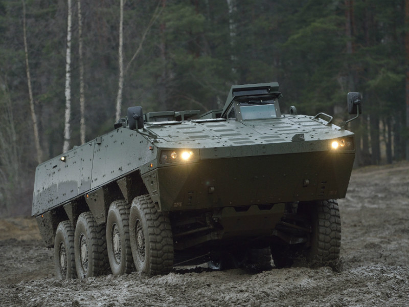 Patria's armoured modular vehicle (AMV) photographed during a demonstration in Parola, Finland, on 23 November, 2012.