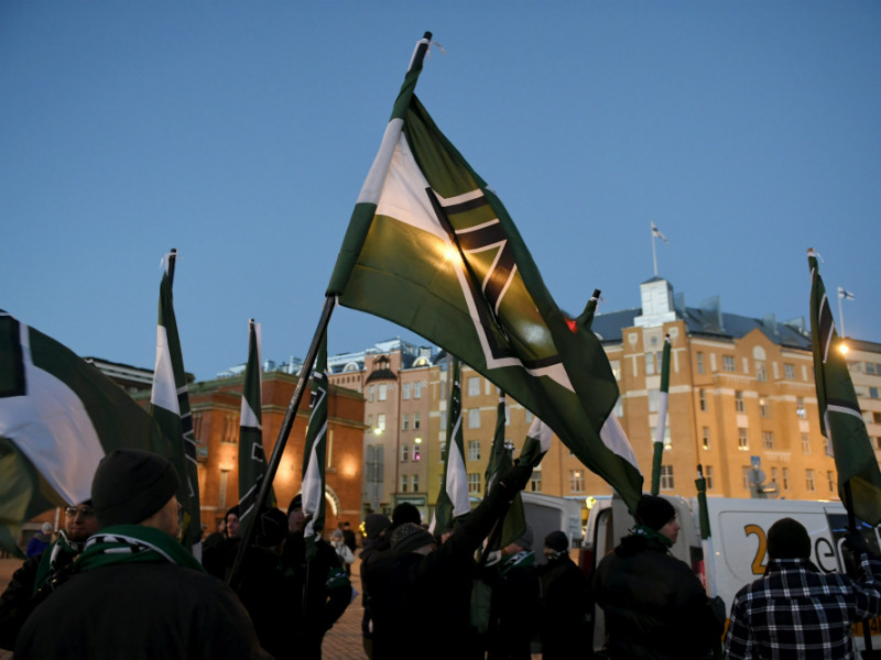 Members of the Nordic Resistance Movement convened at Hakaniementori Square, Helsinki, before a protest organised on 6 December, 2016.