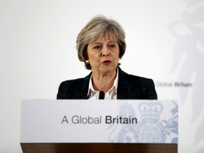 British Prime Minister Theresa May delivers a speech detailing her priorities for Brexit at Lancaster House in London on 17 January, 2017.