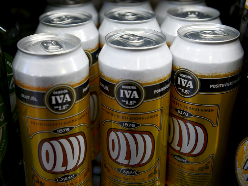 Cans of so-called IVA beer on the shelves of Alko. The state-owned chain has a retail monopoly on beverages with an alcohol content exceeding 4.7 per cent.