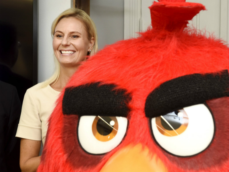 "Kati Levoranta, the CEO of Rovio, posed for photographs next to one of the characters of the ""games-first entertainment studio's"" flagship franchise, Angry Birds, at the Helsinki Stock Exchange on 5 September, 2017."