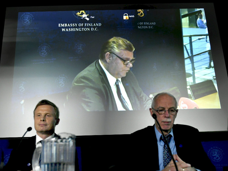 Minister for Foreign Affairs Timo Soini (BR) attended a press conference organised by the Ministry for Foreign Affairs via a video link from Washington DC, the United States, on Thursday, 14 September.
