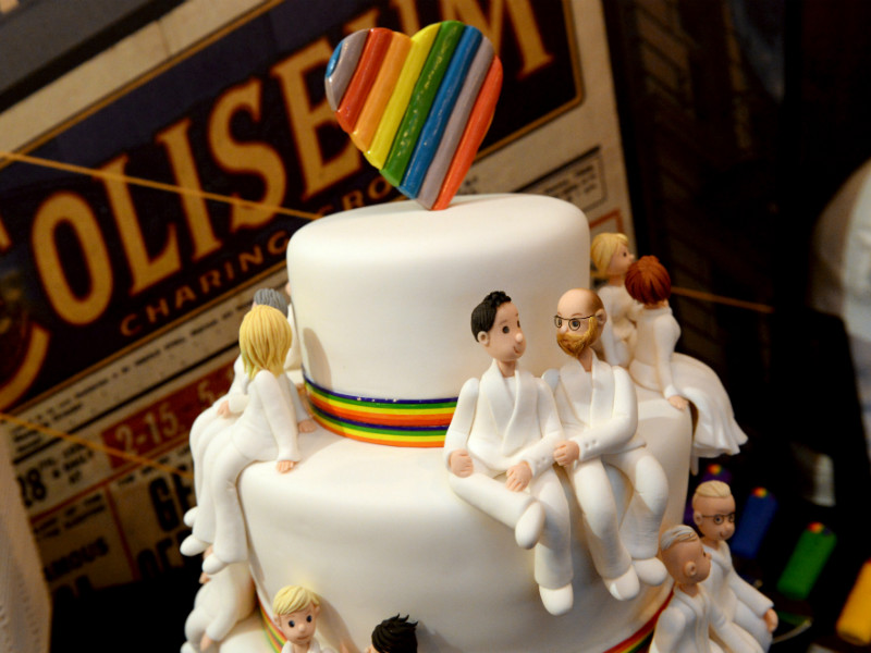 A wedding cake decorated with a rainbow-coloured heart was displayed at Music Theatre Kapsäkki in Helsinki on 1 March, 2017.