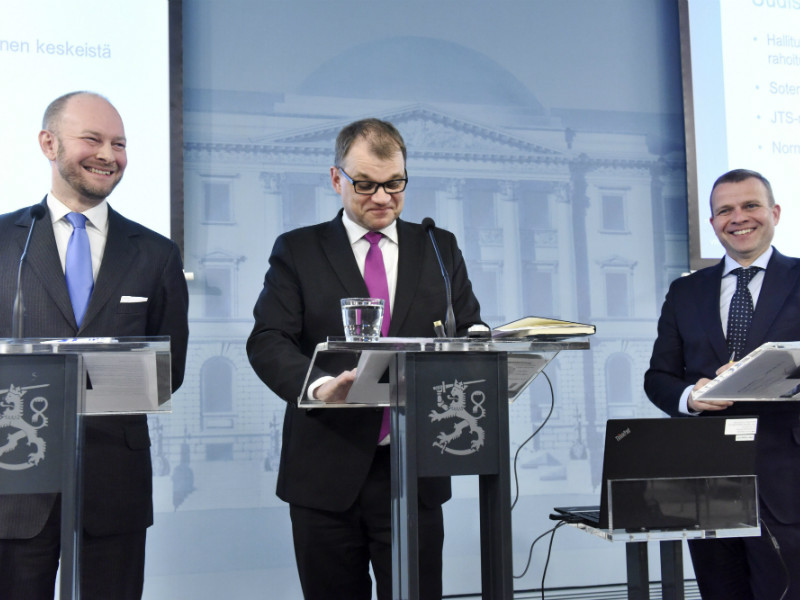 Ministers Sampo Terho (BR), Juha Sipilä (Centre) and Petteri Orpo (NCP) spoke to reporters after the government wrapped up its two-day framework session on Wednesday, 11 April.