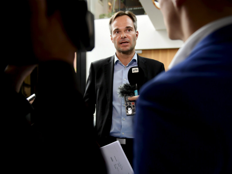 Kai Mykkänen (NCP), the Minister of the Interior, spoke to reporters at the summer meeting of the National Coalition's ministerial group in Joensuu on Monday, 13 August.