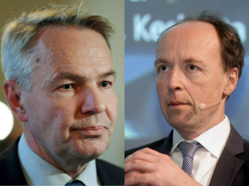 Pekka Haavisto's (left) Green League and Jussi Halla-aho's Finns Party made the biggest gains in the latest opinion poll commissioned by Alma Media. (Credit: Vesa Moilanen, Antti Aimo-Koivisto – Lehtikuva)