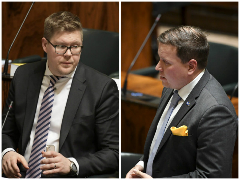 Ville Tavio (right) of the Finns Party has crossed a line that has never been crossed before in the Finnish Parliament, says Antti Lindtman (left) of the Social Democrats. (Credit: Vesa Moilanen – Lehtikuva)