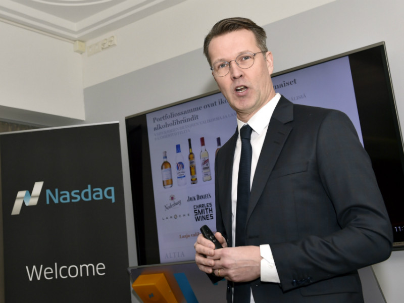Pekka Tennilä, the CEO of Altia, spoke during a press conference held jointly by Altia and its sole owner, the Finnish state, at the Helsinki Stock Exchange on Friday, 23 February, 2018.