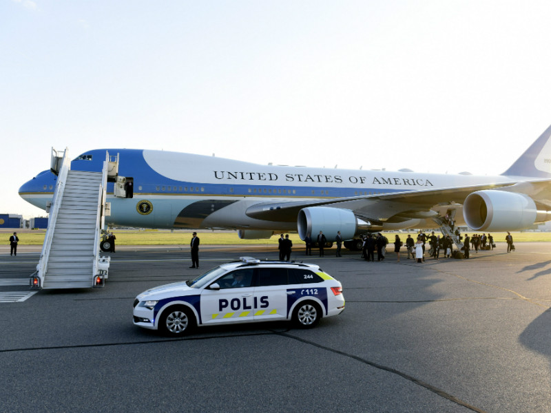 The Air Force One touched down at Helsinki Airport shortly before 9pm on Sunday, 15 July 2018.