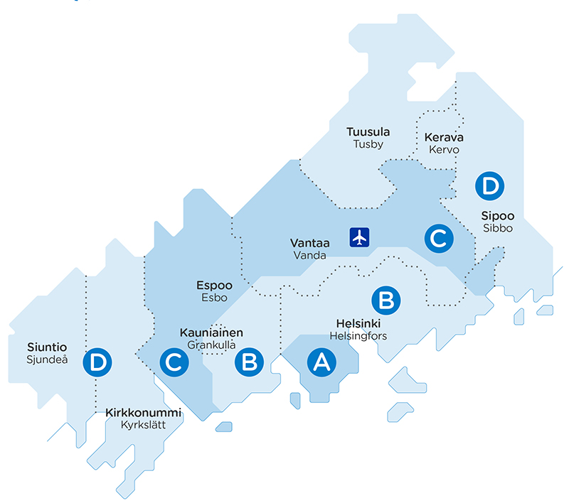 Helsinki Region Transport (HSL) will introduce new public transport zones, indicated on the map by the letters A, B, C and D, as soon as most travel cards have been updated to newer versions. (Image: HSL)