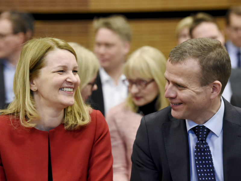 OECD deputy secretary-general Mari Kiviniemi (left) and Minister of Finance Petteri Orpo (NCP) attended the launch event of the OECD's latest economic survey of Finland in Helsinki on Wednesday, 28 February.
