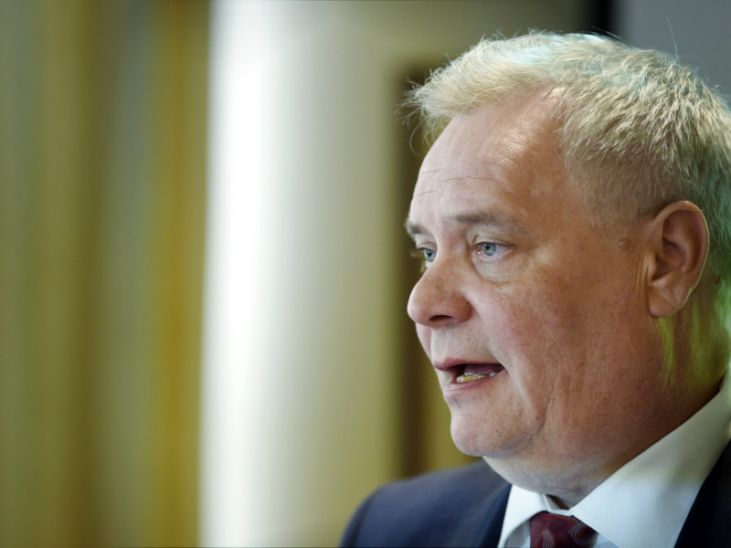 Antti Rinne, the chairperson of the Social Democratic Party, spoke to the media as the opposition party unveiled its tax programme in Helsinki on Wednesday, 16 May.