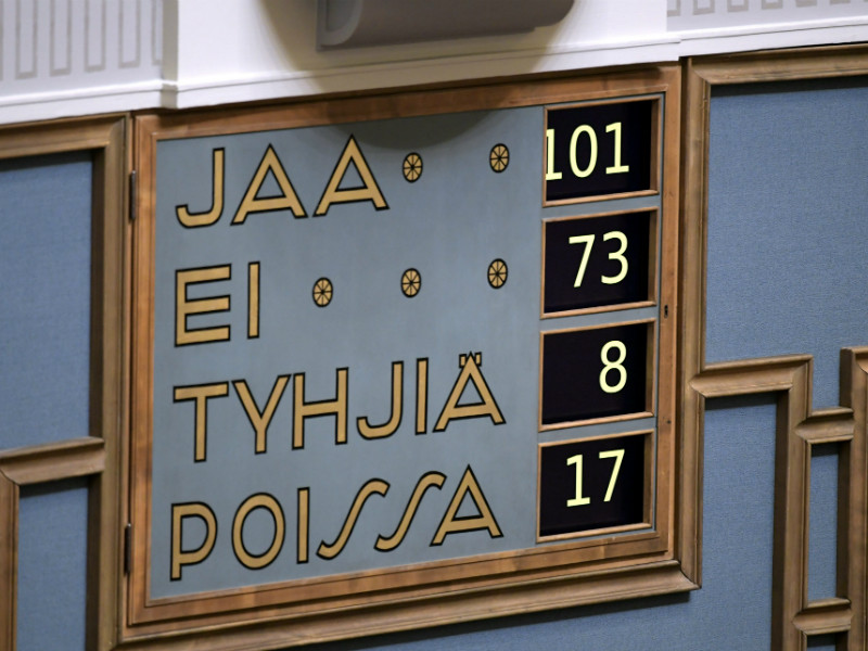 Most Members of the Finnish Parliament expressed their support the government and its employment policy approach in a vote held in the Parliament on Wednesday, 17 October. (Vesa Moilanen – Lehtikuva)
