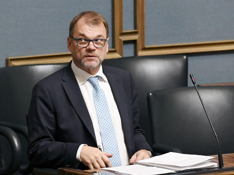 """Employment is massively important for the public economy. We're talking about funding hospitals, daycare centres and care for ageing people,"" Prime Minister Juha Sipilä (Centre) said in the Parliament on Tuesday. (Credit: Heikki Saukkomaa – Lehtikuva)"