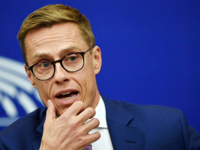 Alexander Stubb (NCP), a vice president of the European Investment Bank, attended a press conference in the European Parliament in Strasbourg, Germany, on Tuesday, 2 October. (Credit: Frederick Florin – Lehtikuva/AFP)